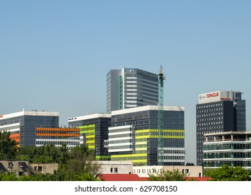BUCHAREST, ROMANIA, April 27, 2016: Modern office buildings in Bucharest.