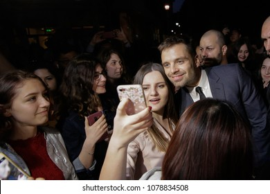 BUCHAREST, ROMANIA - APRIL 27: Romanian born actor Sebastian Stan, known for his role of Bucky Barnes/Winter Soldier in the Marvel Universe, meets his fans in a cinema, on April 27, in Bucharest.