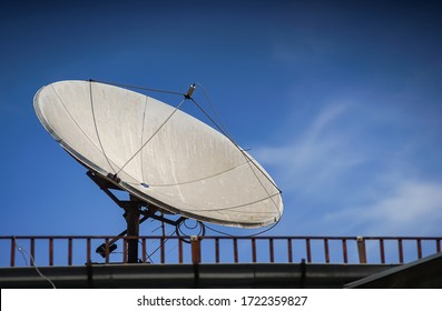 Bucharest, Romania - April 29, 2020: A satellite parabolic dish antenna is mounted on the top of a building in Bucharest.