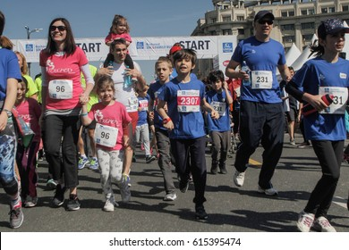 BUCHAREST, ROMANIA, April 3, 2016: Families participate in the Bucharest 10 K & Family run marathon held in Bucharest.