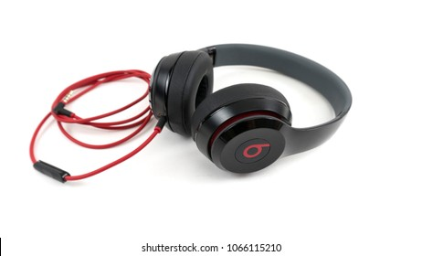 Bucharest, Romania - April 9, 2018: Beats studio headset. Beats by Dr. Dre has been acquired by Apple.