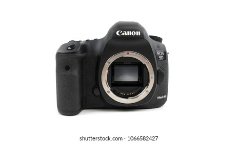 Bucharest, Romania - April 9, 2018: Canon 5D Mark III DSLR Body.The Canon 5D Mark III was released in March 2012,it's a 22,3 Megapixel DSLR Camera and the successor of the famous Canon 5D Mark II