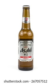 BUCHAREST, ROMANIA - Aprin 6,2015:Asahi was founded in Osaka in 1889 as the Osaka Beer Company.During the First World War German prisoners worked in the brewery