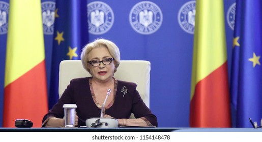 Bucharest, Romania - August 02, 2017: Viorica Dancila, Prime Minister of Romania, heads the government meeting at Victoria Palace in Bucharest, Romania.