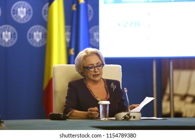 Bucharest, Romania - August 02, 2018: Viorica Dancila, Prime Minister of Romania, heads the government meeting at Victoria Palace in Bucharest, Romania.