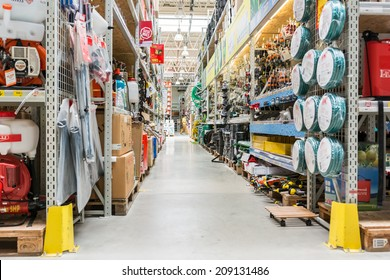 BUCHAREST, ROMANIA - AUGUST 05, 2014: Tools And Utensils Hypermarket Aisle.
