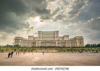 BUCHAREST, ROMANIA - August 08: Palace of Parliament on August, 2014 in Bucharest,  visited by tourists. The worlds largest civilian building, the most expensive administrative and heaviest building.