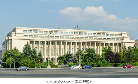 BUCHAREST, ROMANIA - AUGUST 10, 2014. The Victoria Palace. Palatul Victoriei.