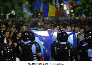 Bucharest, Romania - August 10, 2018: Tens of thousands of people are participating at violent anti-government protest in Bucharest. Over 400 people injured, including members of gendarmerie.