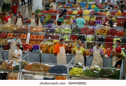 Bucharest, Romania - August 11, 2020: The stalls of the new agri-food market Piata Sudului during the presentation event held by the mayor of sector 4 of Bucharest for the press.