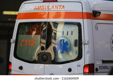 BUCHAREST, ROMANIA - August 13, 2018: Details of a Romanian ambulance at Floreasca Emergency Hospital