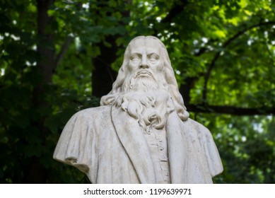 Bucharest, Romania - August 15, 2018. Bust of Leonardo da Vinci inside Herastrau Park.
