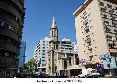 Bucharest, Romania - August 15, 2021: The Lutheran church, on Lutheran street in Bucharest.