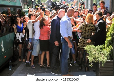 BUCHAREST, ROMANIA - AUGUST 15: American singer Lady Gaga arrives at the Hilton Bucharest, Aug 15, 2012. Lady Gaga will perform a concert in Constitution Square in Bucharest, Thursday, August 16.