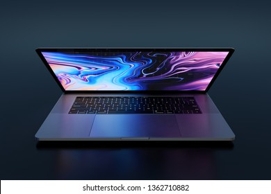 Bucharest, Romania - August 19, 2018: Apple MacBook Pro (MBP) 15 inch Silver laptop computer with lid partially open, keyboard visible, glowing light. Frontal veiw. Very high detail, high resolution