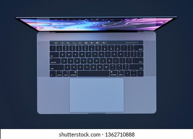 Bucharest, Romania - August 19, 2018: Apple MacBook Pro (MBP) 15 inch Silver laptop computer with lid open, keyboard visible. Top view. Very high detail, high resolution
