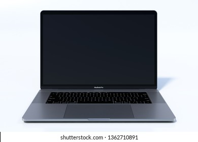 Bucharest, Romania - August 19, 2018: Apple MacBook Pro (MBP) 15 inch Silver laptop computer with lid open, keyboard visible. Fit for mockup presentations. Very high detail, high resolution