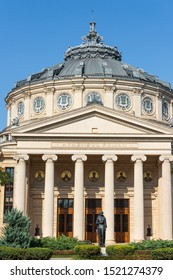 BUCHAREST, ROMANIA - AUGUST 19, 2019: Romanian Athenaeum building from the bottom. Front view