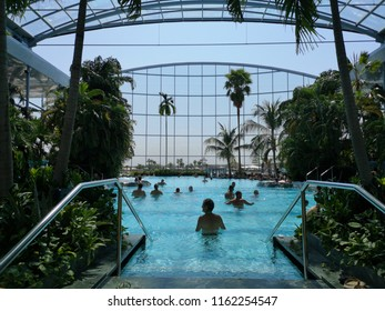 Bucharest, Romania. August 21, 2018. People bathing in pool of spa