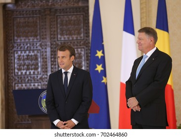 BUCHAREST, ROMANIA - August 24, 2017: French President Emmanuel Macron and Romanian President Klaus Iohannis at the joint press conference at Cotroceni Palace.