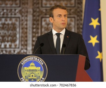 BUCHAREST, ROMANIA - August 24, 2017: French President Emmanuel Macron speaks during the press conference with his Romanian counterpart at Cotroceni Palace.