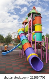 BUCHAREST, ROMANIA - AUGUST 25, 2014: Playground for children in one of the largest parks in Bucharest