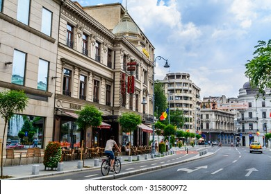 BUCHAREST, ROMANIA - AUGUST 30: Capsa Hotel on AUGUST 30, 2015 in Bucharest, Romania. It is a historic restaurant and five star hotel downtown Bucharest first established in 1852.