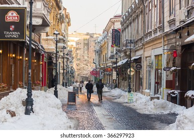 BUCHAREST, ROMANIA - CIRCA JANUARY, 2016: Covaci street in Bucharest old town in winter season, usually a crowdy street during the summer time