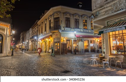 BUCHAREST, ROMANIA - CIRCA NOVEMBER, 2015: Bucharest's beautiful lit streets in downtown during night-time , famous place for dinning, clubbing, buying souvenirs  and having good time