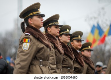 Bucharest, Romania - December 01, 2019: Female soldier (women in the military) takes part at the Romanian National Day military parade.