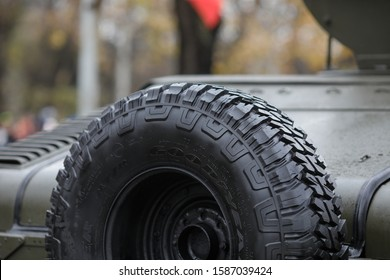 Bucharest, Romania - December 01, 2019: Goodyear Wrangler spare tire of a High Mobility Multipurpose Wheeled Vehicle (HMMWV, colloquial Humvee) during the Romanian National Day military parade.