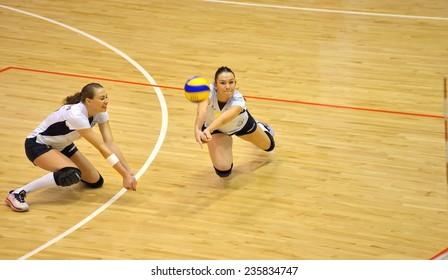 BUCHAREST, ROMANIA - DECEMBER 05:Cristina Cazacu, receives during the match between CSM Bucharest and CSV Alba-Blaj, Romanian Volleyball National Championship December 05, 2014 Bucharest, Romania
