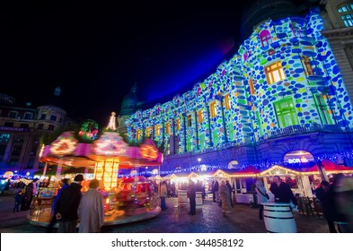 Bucharest, Romania - December 09, 2013: Christmas Market at the University Square, in Bucharest downtown.
