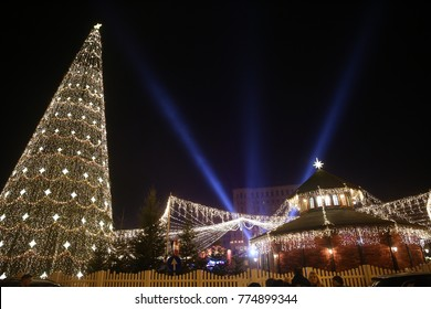 Bucharest, Romania - December 09, 2017: Nightscene in Bucharest center when the Christmas lights and decorations are on.
