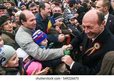BUCHAREST, ROMANIA - DECEMBER 1, 2009: Romanian president Traian Basescu is taking part to the massive parades on National Day of Romania.