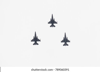 Bucharest, Romania, December 1, 2017 F-16 formation of the Romanian Air Force. American fighter jet. War, defense, military and army equipment. NATO.
