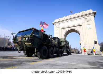 BUCHAREST, ROMANIA - December 1, 2018: Patriot PAC 3+ surface-to-air missile (SAM) system at the Romanian National Day military parade