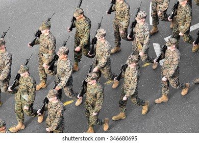 BUCHAREST, ROMANIA - DECEMBER 1: Aerial photo with United States marines soldiers marching during the Romania's National Day military parade on December 1, 2015 in Bucharest.