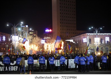 Bucharest, Romania - December 10, 2017: Gendarmerie holds a line during a protest rally in front of Romanian government against the decision of changing justice laws.