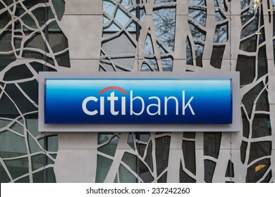 BUCHAREST, ROMANIA - DECEMBER 11, 2014: Citibank in Bucharest, Romania. Citibank is a banking division of financial services multinational Citigroup, founded in in 1812 as the City Bank of New York.
