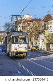 BUCHAREST, ROMANIA - DECEMBER 11, 2014:  RATB an autonomous company operates all public transport network of buses, trams and trolleybuses in Bucharest