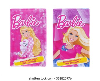 BUCHAREST, ROMANIA - DECEMBER 14, 2015. Barbie milk chocolate by OSCAR CHOCOLATE. Barbie is a fashion doll manufactured by the American toy-company Mattel, Inc. and launched in March 1959.