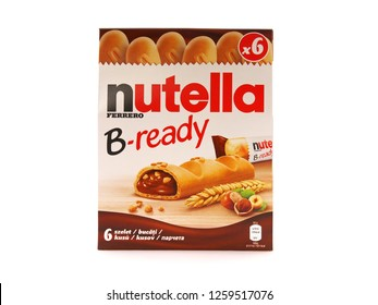 BUCHAREST, ROMANIA - DECEMBER 14, 2018. Pack of six Nutella B-Ready, crisp wafer bars filled with creamy Nutella, manufactured by the Italian company Ferrero