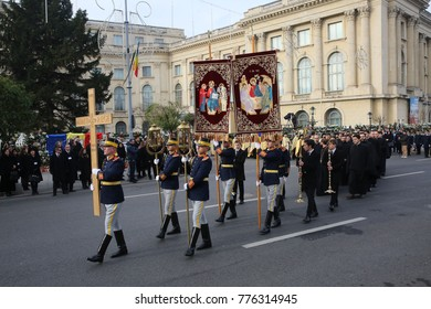BUCHAREST, ROMANIA - DECEMBER 16, 2017: The state funeral for the late Romanian King Michael I in front of the former Royal Palace, now National Art Museum.