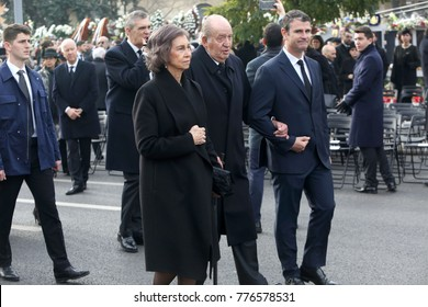 BUCHAREST, ROMANIA - DECEMBER 16, 2017: Former Spanish royals, Queen Sofia, King Juan Carlos I attend the funeral ceremony for the late Romanian King Michael I in front of the former Royal Palace.