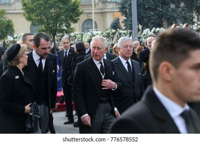 BUCHAREST, ROMANIA - DECEMBER 16, 2017: Britain's Prince Charles attends the funeral ceremony for the late Romanian King Michael I in front of the former Royal Palace.