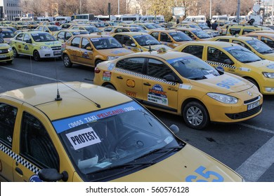 Bucharest, Romania, December 17, 2015: Private transporters are protesting in front of the Romanian Government building in Bucharest, for increase of taxes.
