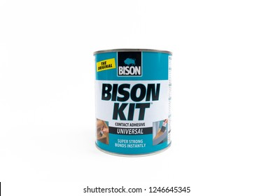 Bucharest, Romania - December 2, 2018: Can of Bison Kit Super strong, liquid, universal contact adhesive.