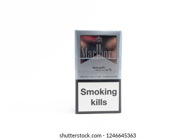 Bucharest, Romania - December 2, 2018: Pack of Marlboro Silver Touch Cigarettes, made by Philip Morris. Marlboro is the largest selling brand of cigarettes in the world.