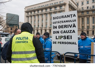 Bucharest, Romania  - December 20, 2017: Police officers protest in front of the Interior Ministry over changes in the criminal code and the laws of justice.